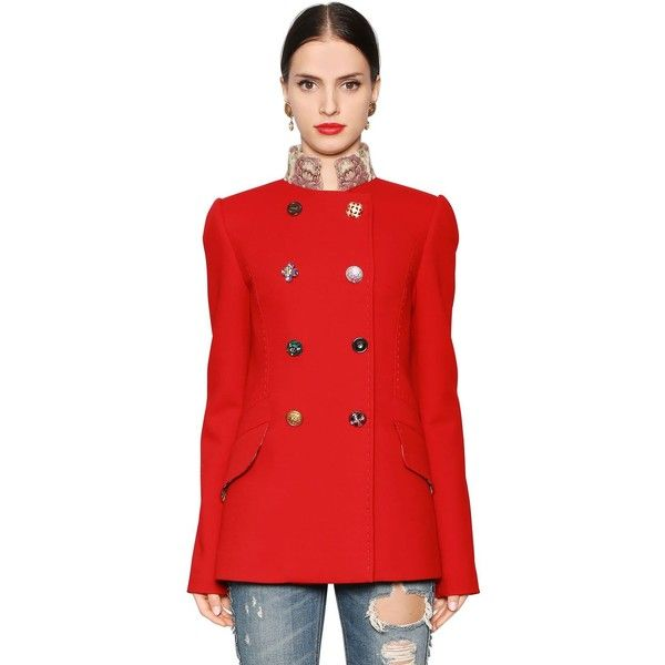 Dolce & Gabbana Women Double Wool Blend Crepe Peacoat ($2,945) ❤ liked on Polyvore featuring outerwear, coats, red, wool blend peacoat, wool blend coat, dolce gabbana coat, red pea coat and button coat