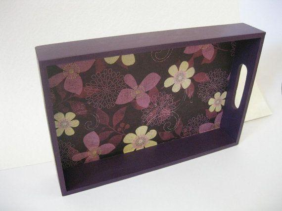 Purple Flower Decoupaged Letter Tray: Decoupaged Letter, Purple Flower