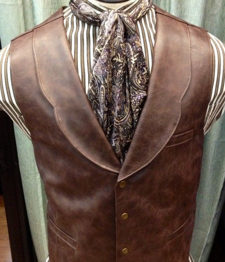 Mens Old West Leather Vest With Lapels, Mens Western Vests With Lapels, Mens…