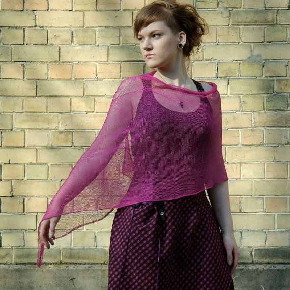 Linen Fuchsia Pink Summer Poncho Summer Wrap by supersoftknits