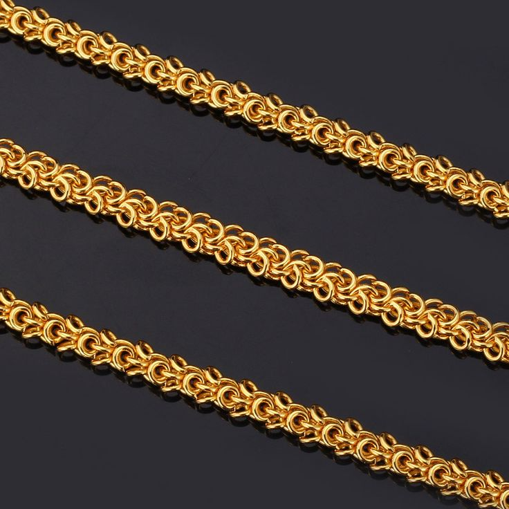 "U7 ""18K"" Stamp 18K Real Gold Plated Fashion Jewelry Wholesale New Hiphop Style Round 55 cm Rope Chains Necklaces For Men"