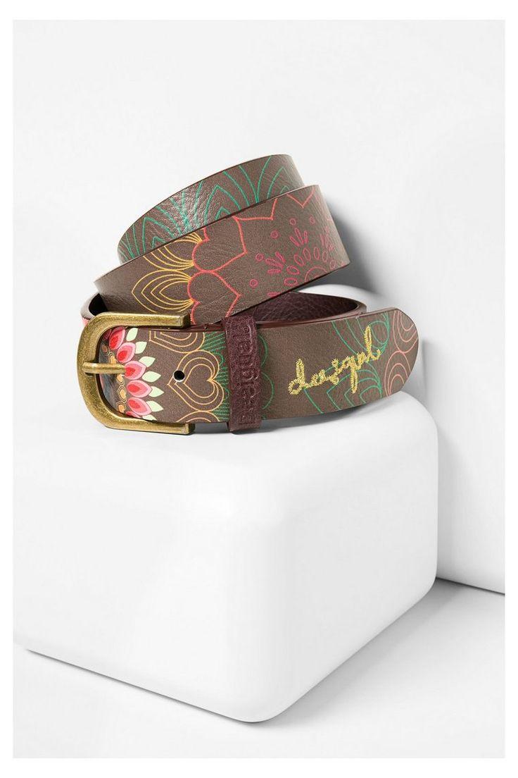 Cintura marrone con motivo floreale | Desigual.com B