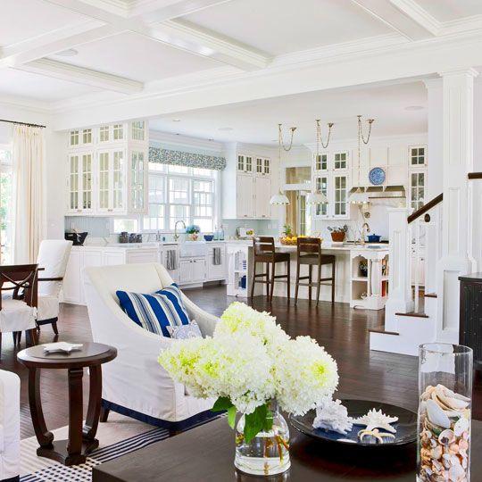 Fresh: Hampton Style, Living Rooms, Open Spaces, Open Floors Plans, Floor Plans, Beaches Houses, Open Kitchens, Open Plan, White Kitchens