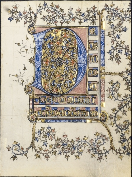 Leaf from a Book of Hours, Initial D, France, probably Soissons, 15 century circa 1400