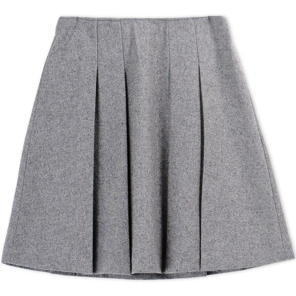 Fwss Knee Length Skirt (4 390 UAH) ❤ liked on Polyvore featuring skirts, grey, flannel skirt, knee high skirts, grey skirt, knee length skirts and pleated skirt