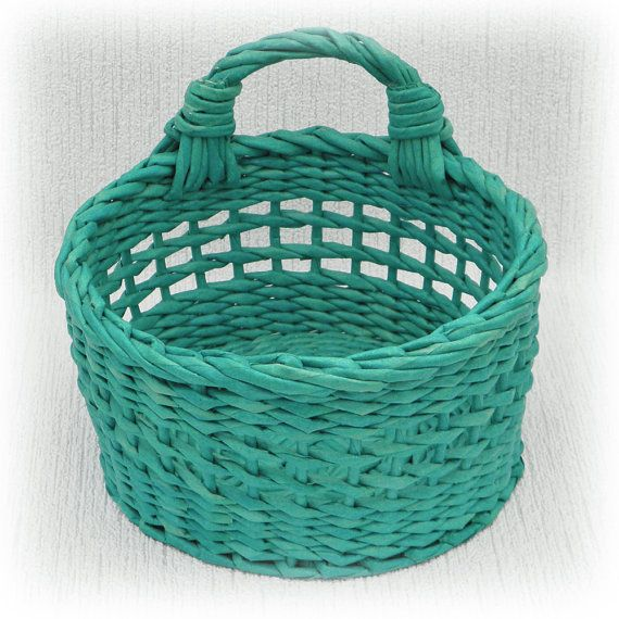 Basket for kitchen wicker by WeavingAndVintage on Etsy