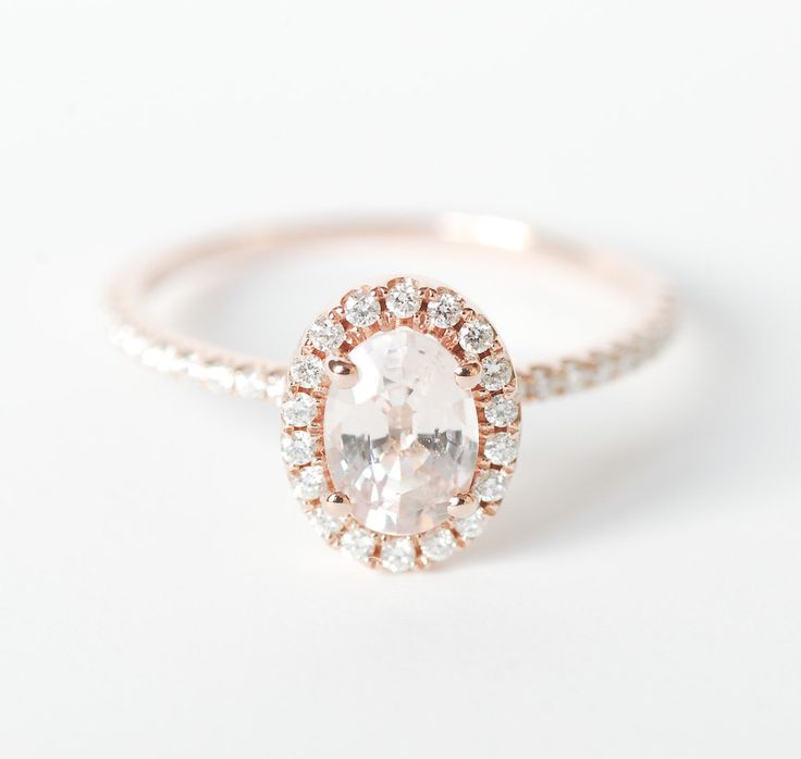Peach Pink Champagne Oval Sapphire Diamond Halo Engagement Ring Rose Gold