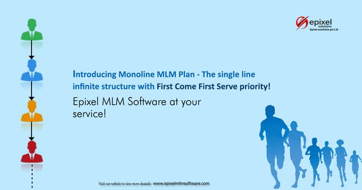 #Monoline #MLM Plan - One of the best and finest plans in Epixel MLM Software.     Following with a method of First come first serve the plan is extremely recommended for MLM business people.