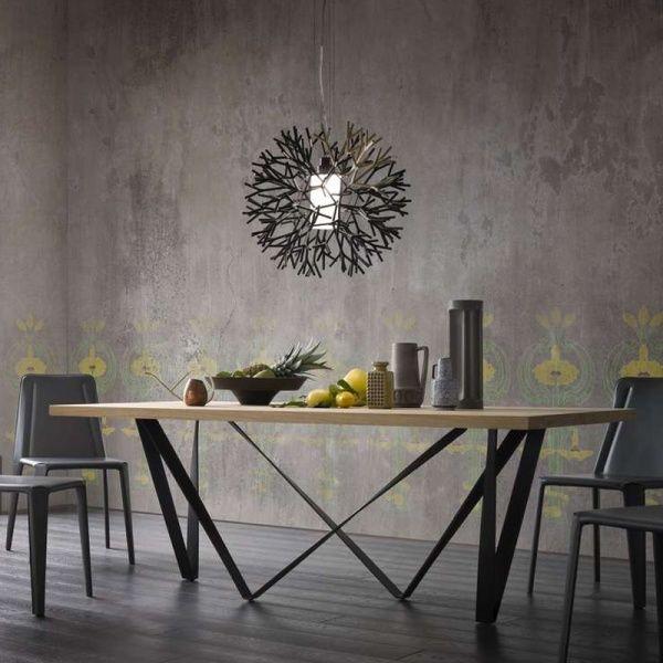 Table design extensible en métal et bois - Wave