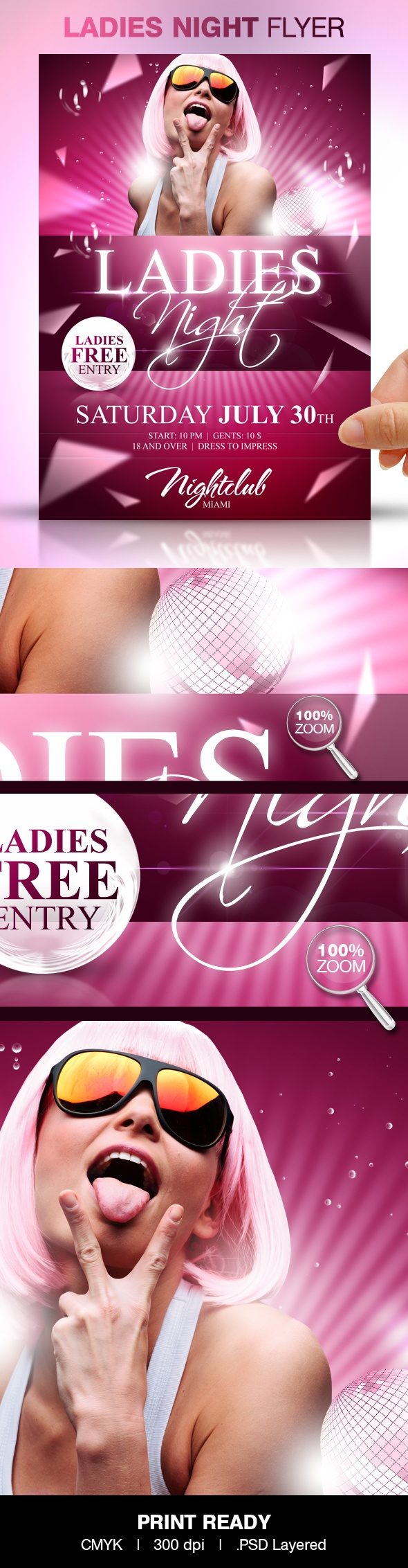 Ladies Night Party Flyer Template by Party Flyer, via Behance