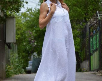 Linen Maxi Dress, Extravagant Long Dress, Oversize Casual Dress, Elegant White Kaftan By SSDfashion