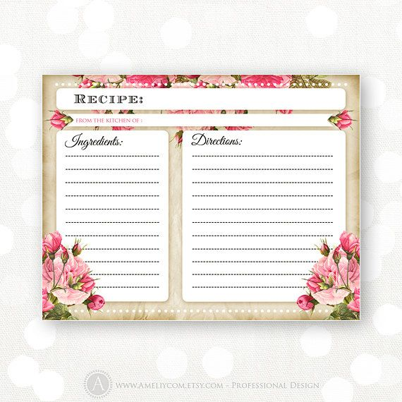 Printable Recipe Card for Bridal Shower Rustic by AmeliyCom, $7.00