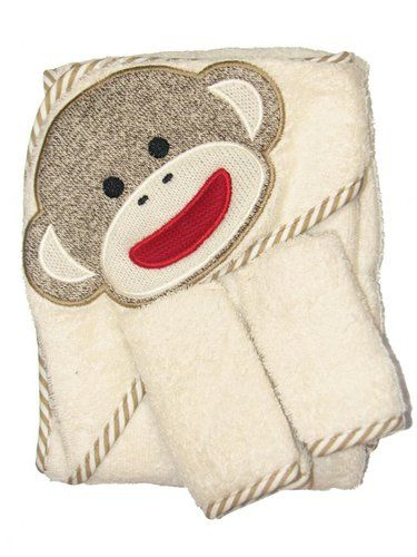"Sock Monkey Hooded Towel and 2 Washcloth Set by Baby Starters Cotton Machine wash cold. Do not bleach. Tumble dry low. baby starters monkey hooded towel with two washcloths 100% cotton washcloths measure 9"" X 9"" Towel measures 26"" X 30"" http://livinggood-entrepeneural.blogspot.com/2014/11/towels-as-gifts.html"