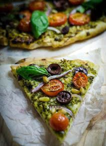 Vegan Pesto Pizza.!!!  Like pizza???