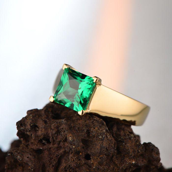 Бесплатная доставка 1.52ct Принцесса Cut Зеленый Изумрудный 14 К Желтое Золото Обручальное Кольцо купить на AliExpress