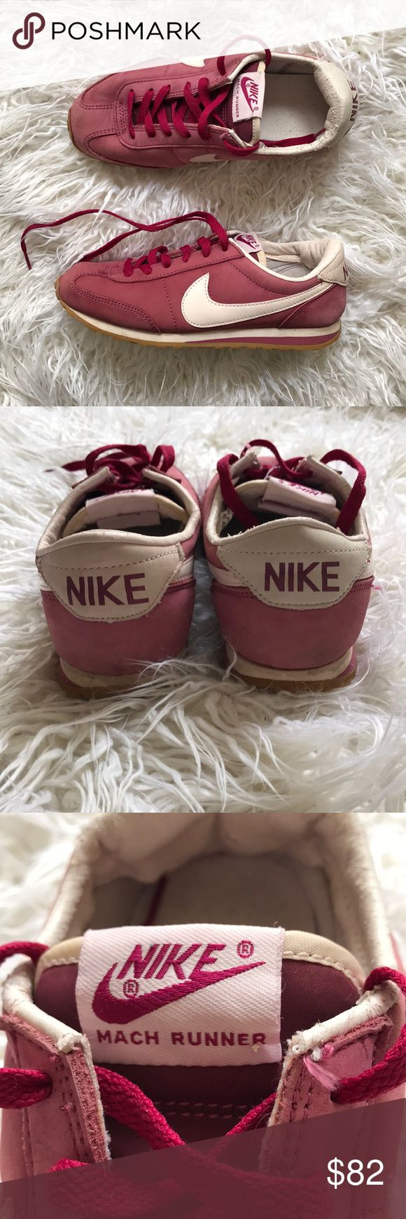 Retro Nike Mach Runners These maroon suede stunners are AMAZING! They are in retro condition but with HARDLY ANY WEAR 😍  Tags: Nike, vintage, retro, throwback Nike Shoes Sneakers