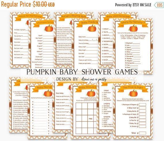 ON SALE Little Pumpkin Baby Shower Games  Pumpkin by DrawMeAParty                                                                                                                                                                                 More