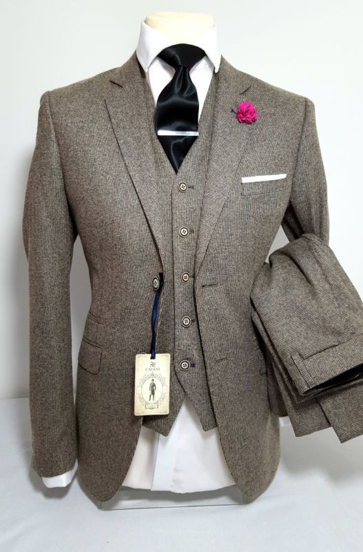 MENS TAN 3 PIECE TWEED SUIT WEDDING PARTY PROM TAILORED SMART