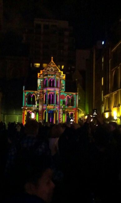 Behind St Paul Cathedral with film screenings, light installation .