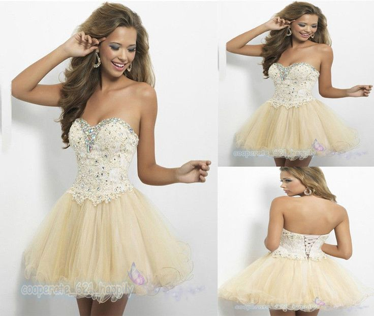 Strapless Homecoming Dresses Short Dress Beaded Organza Prom Ball Evening Dress  #Unbranded #BallGown #Cocktail