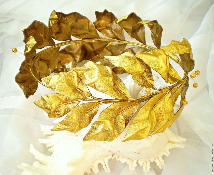 Купить Лавровый венок. Кожа - золотой, венок, венок из кожи, венок на голову, из кожи