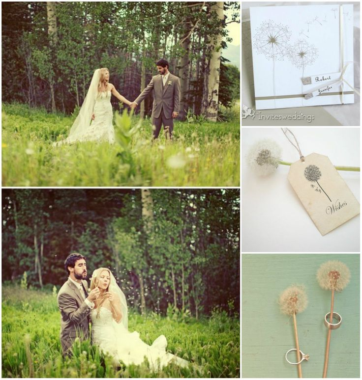 Dandelion Ribbon And Lables Folded Wedding Invitations