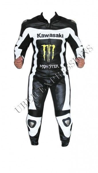 Kawasaki Monster Black White One Piece Motorbike Racing Leather Suit