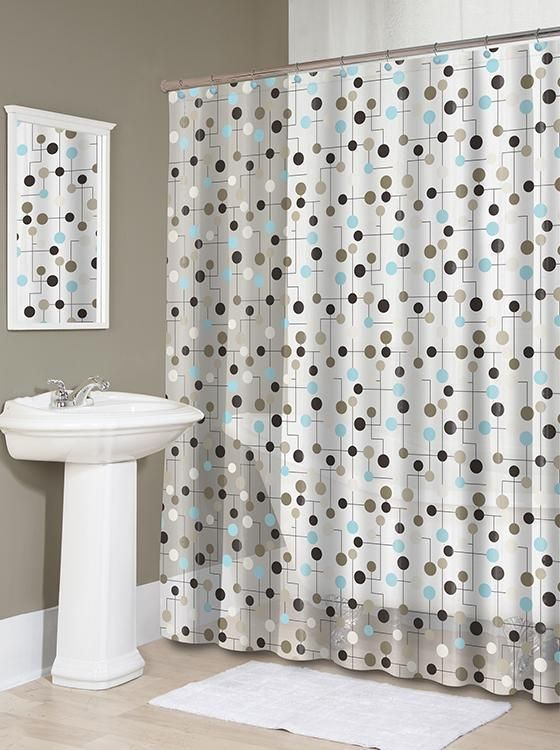 Jot Shower Curtain - The Fascinating Geometric Pattern Of Our Jot Shower Curtain Adds A Playfully Chic Touch To Your Bathroom. Dots In Browns, Greys And Blue Are Connected By Smoothly... More Details