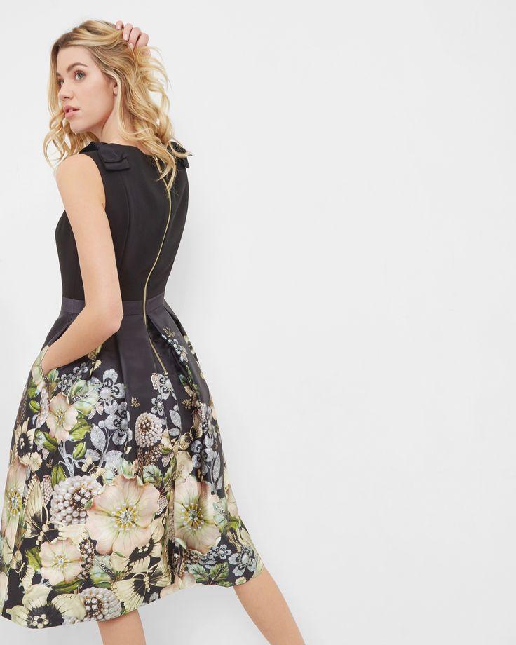 Gem Gardens pleated dress - Black   Dresses   Ted Baker SEU