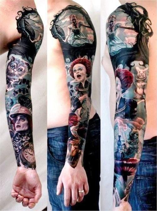 Tim Burton's Alice in Wonderland full color cinematic collage sleeve (arm) tattoo