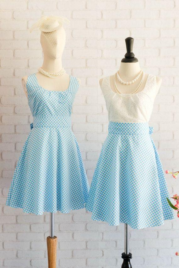 Blue Dress Blue Plaid Dress Blue Party Dress Blue Bridesmaid Dresses Blue Sundress Blue Party Dress Plaid Sundress Vintage Dress Style