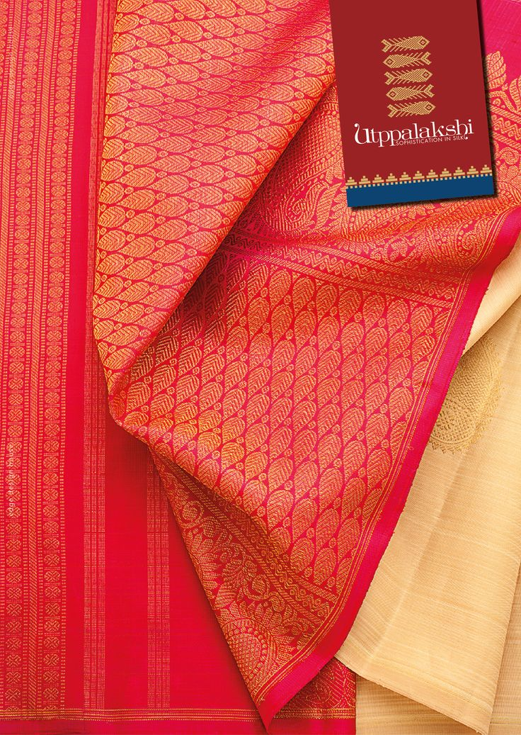 Take a leaf from this pink and ivory saree. Dressing in this Kancheepuram is as much an exquisite affair as the saree itself. #Utppalakshi #Sareeoftheday#Silksaree#Kancheevaramsilksaree#Kanchipuramsilks #Ethinc#Indian #traditional #dress#wedding #silk #saree#craftsmanship #weaving#Chennai #boutique #vibrant#exquisit #pure #weddingsaree#sareedesign #colorful #elite