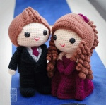 The couple hosts a grand 500 guests banquet to celebrate this special day. With such grandness, Casper charms the guests in formal tuxedo suit with a tie that matches Elena's evening gown. Elena dresses in grand maroon gown and greets the guest with a princess smile and unsurpassed charisma. #weddingdolls #wedding #saplanetoriginals #crochet #handmade #amigurumi #decoration #gifts