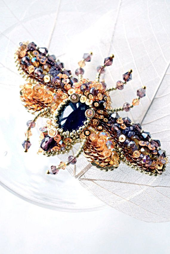 Bead embroidered Beetle brooch with Amethyst. Nature jewelry, insect jewelry, beetle jewelry, bead embroidery