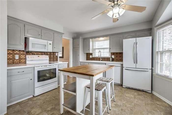 Light Grey Cabinets With Copper Backsplash Light Grey Kitchens Light Grey Kitchen Cabinets Copper Backsplash