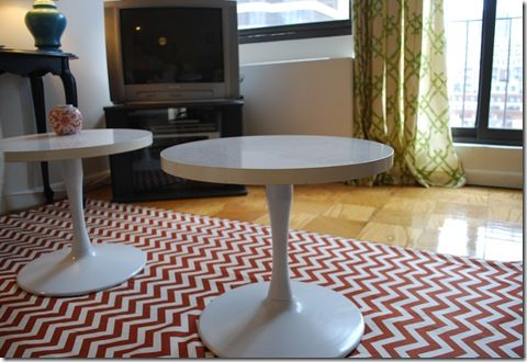 Make your own rug with fabric and a painters drop cloth