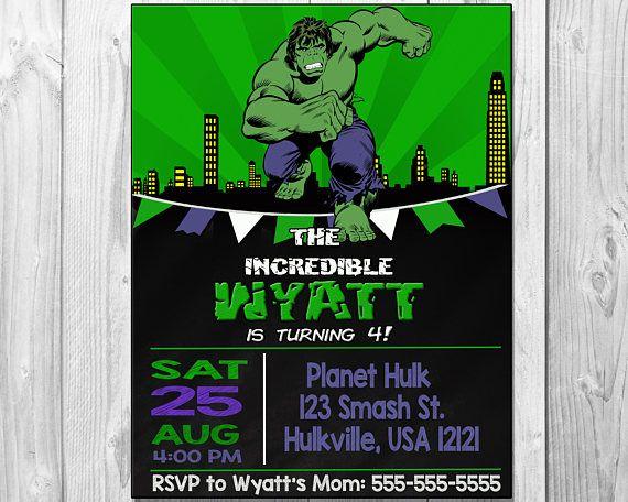 25 best ideas about Hulk birthday parties – Hulk Party Invitations