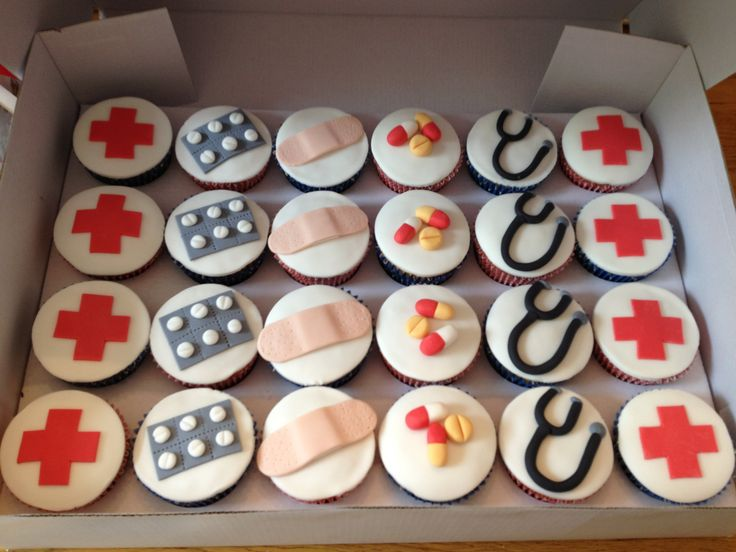 Hospital themed cupcakes as a thank you to staff on a ward.