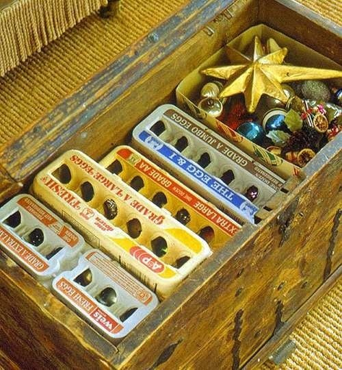Gotta start saving my egg cartons for Christmas ornament storing! Clever...