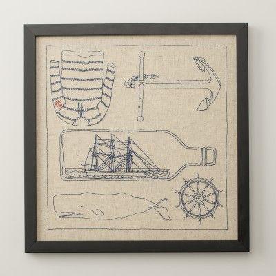 "Linen Nautical Framed Art | Art | Accessories (It's embroidered!)  16"" x 16"" $140.00"