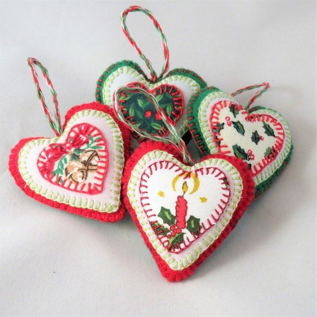 Set of Appliqued Felt Christmas Hearts