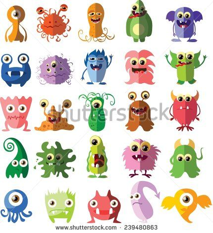 Cartoon cute monsters and bacterias in flat design - stock vector