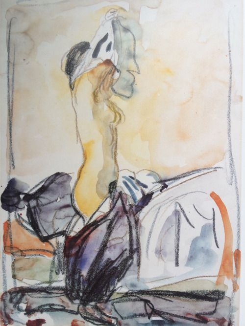 Undressing model   -  Edvard Munch  1919-1924Norwegian  1863-1944 watercolour, chalk, crayon on paper