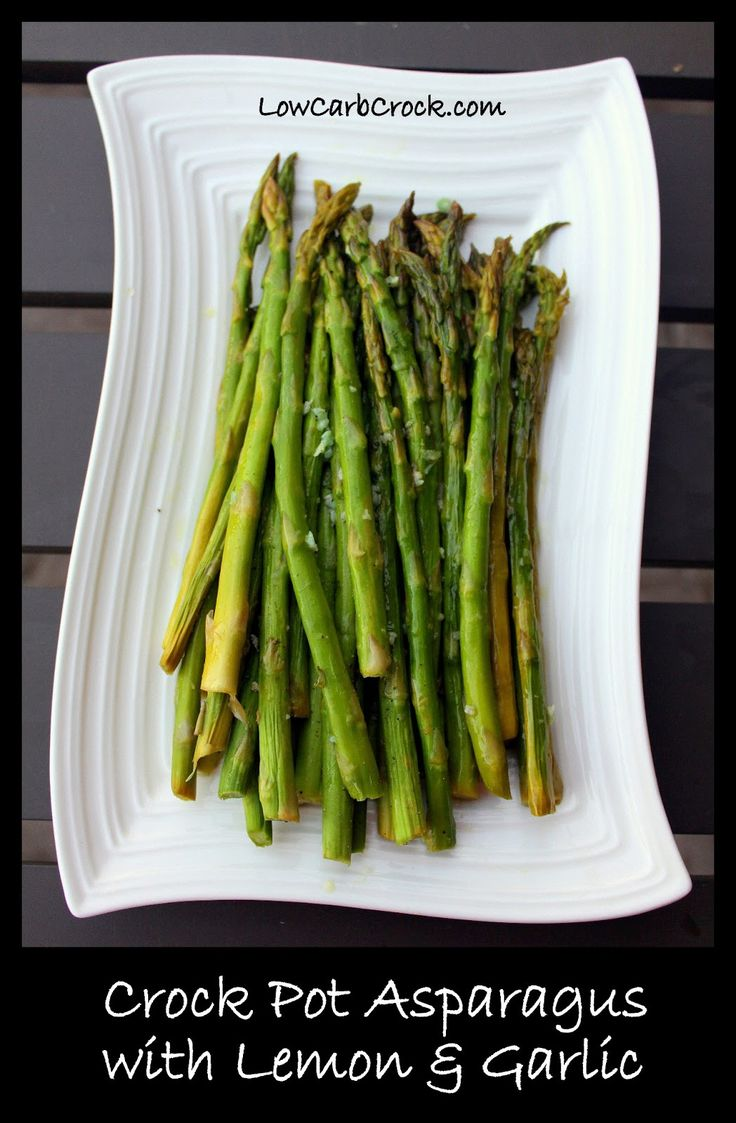Crock Pot Asparagus with Lemon and Garlic (amazing flavor & easy) from lowcarbcrock.com