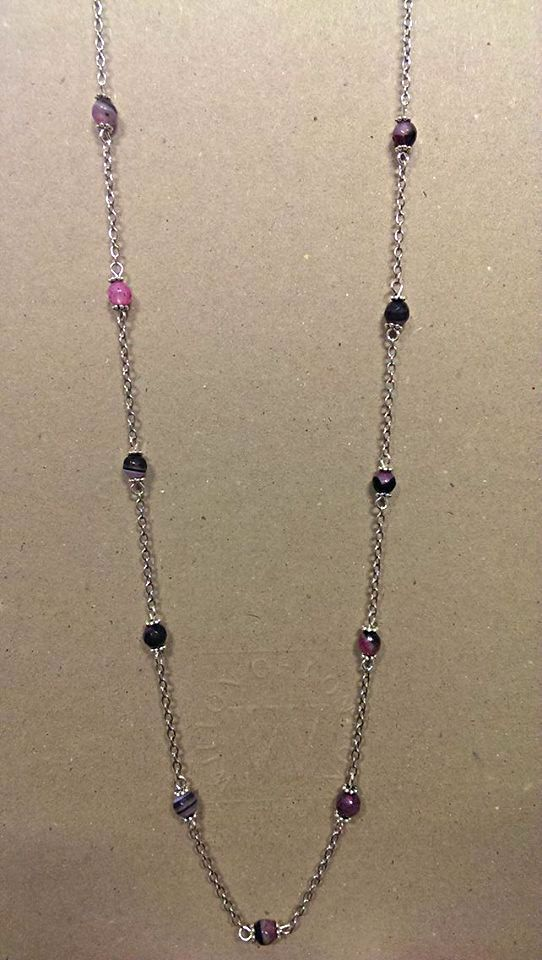 Banded Purple Agate Necklace
