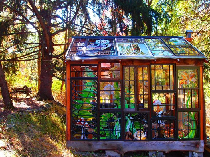 A Stained Glass Cabin Hidden in the Woods.       Gloucestershire Resource Centre http://www.grcltd.org/scrapstore/