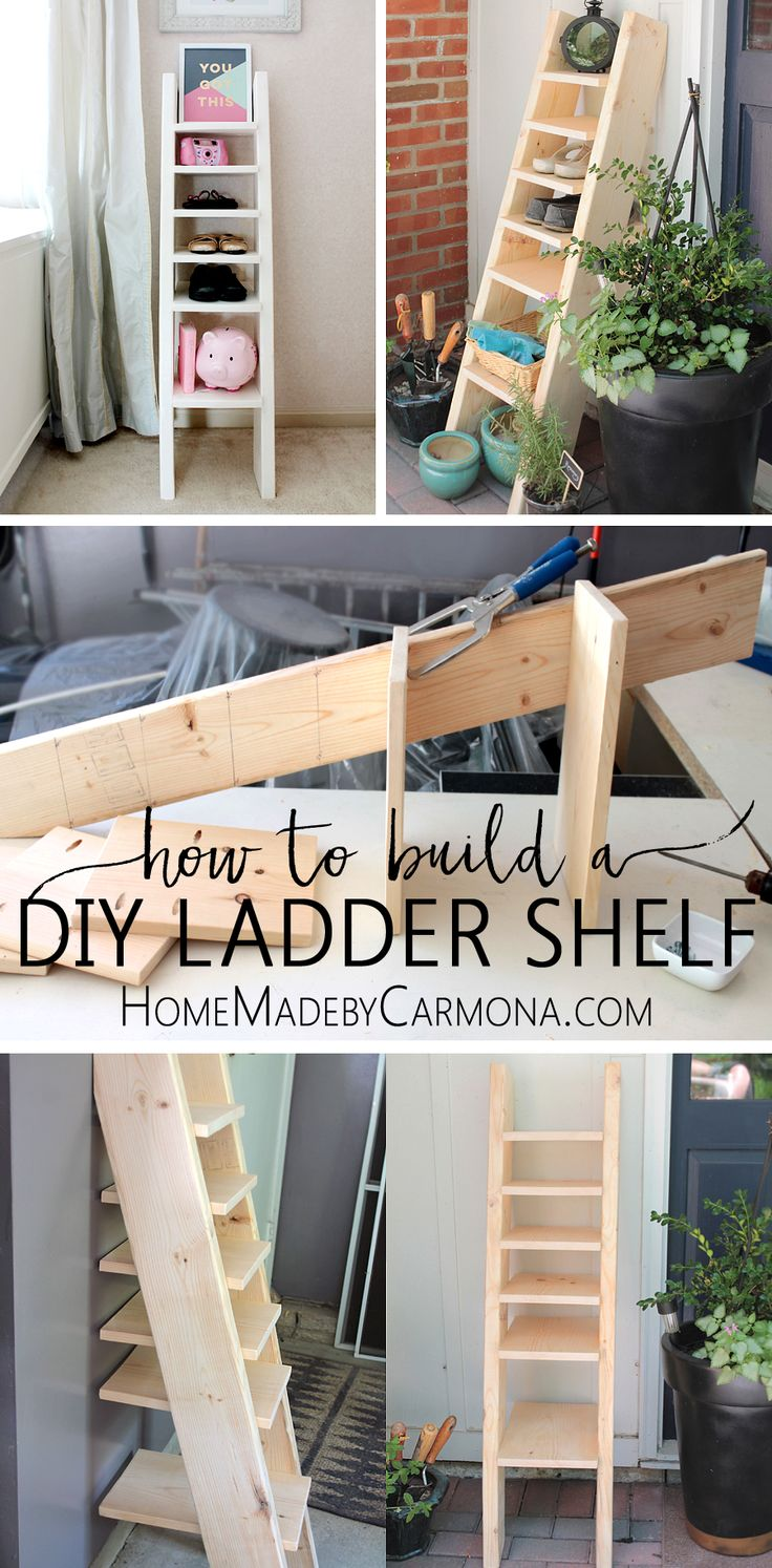 Find out how to build a DIY ladder shelf for shoes, toys or anything that needs to be stored away!