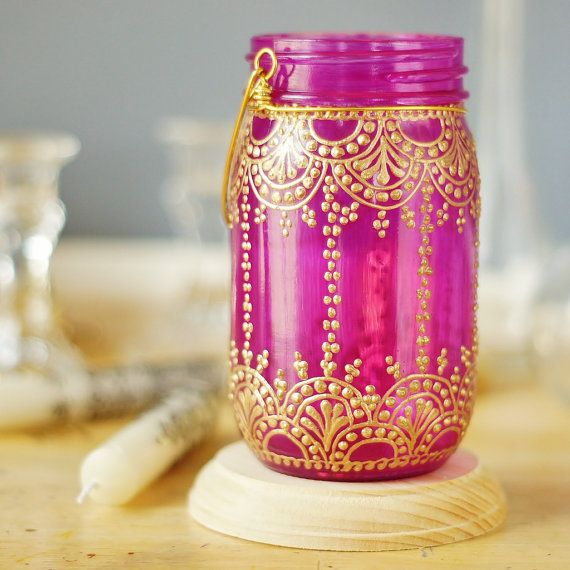 Henna Inspired Mason Jar Lantern, Hot Pink Glass With Golden Accents on Etsy, $28.00