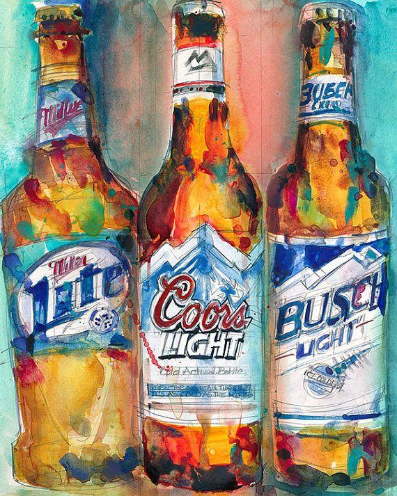 Miller Lite Coors Light Busch Light    Print Size  by dfrdesign