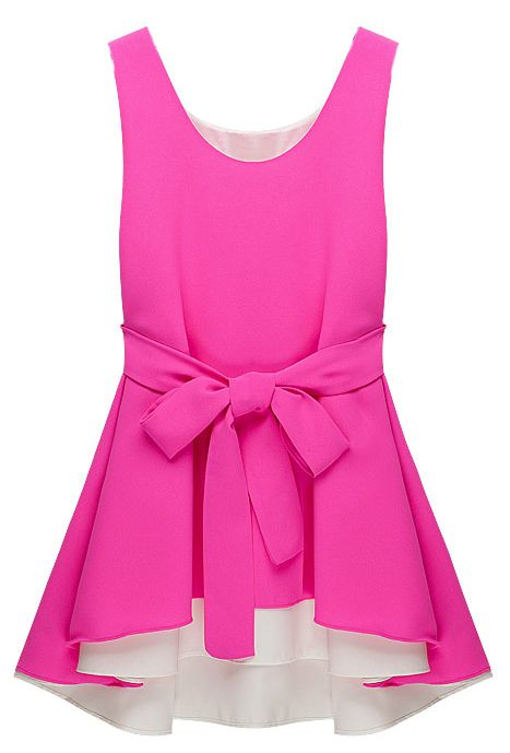 Sleeveless Belt Asymmetrical Chiffon Dress